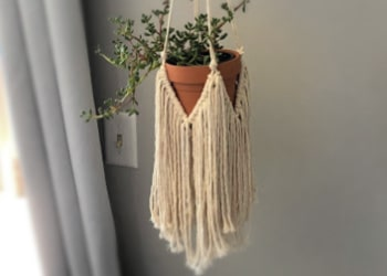 easy macrame plant hanger with fringe