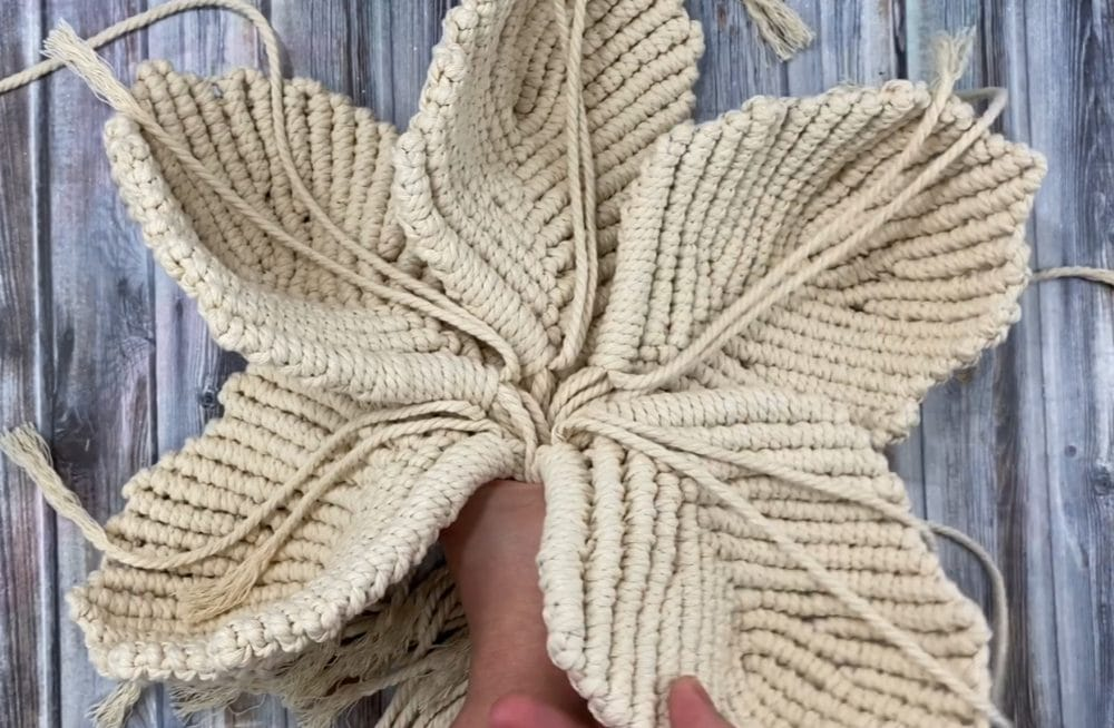 hold the macrame flower petals together