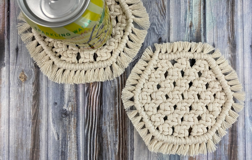 | hexagon macrame mug coasters