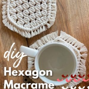 diy hexagon macrame mug coasters