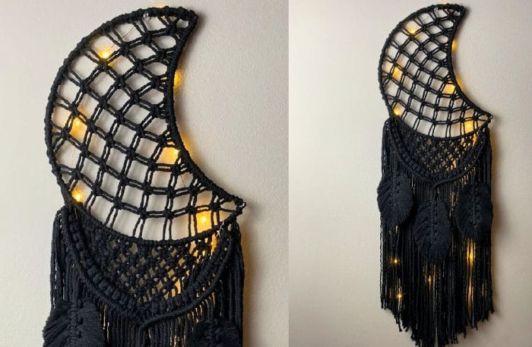 macrame moon dream catcher